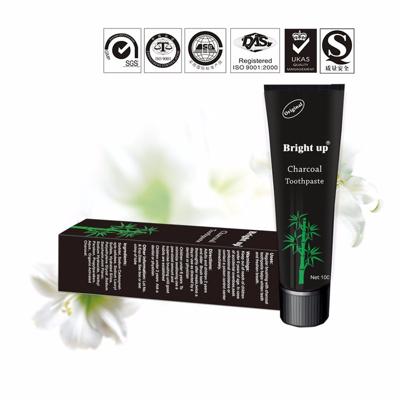 FDA approved Bright Up best teeth whitening natural fluoride free bamboo charcoal toothpaste factory
