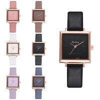 2019 promotion fashion leather quartz women square watch YW06