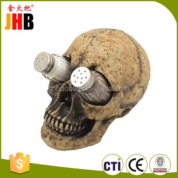 New product resin figurine beautiful carving flower cheap wholesale halloween skull made in China