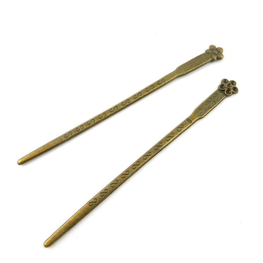 60 PCS Ancient Antique Bronze Fashion Jewelry Making Crafting Charms Findings Bulk for Bracelet Necklace Pendant Retro Accessoires Lots Vintage G4DF4W Plum Flower Hairpin Head Pins