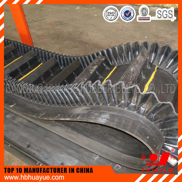 Factory Price concrete canvas inclined 90 degree sidewall conveyor belt , concrete canvas
