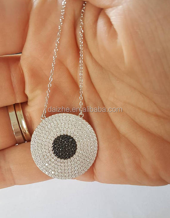 yiwu factory 2017 new big disco round pendant geometric micro pave clear black cubic zirconia necklace
