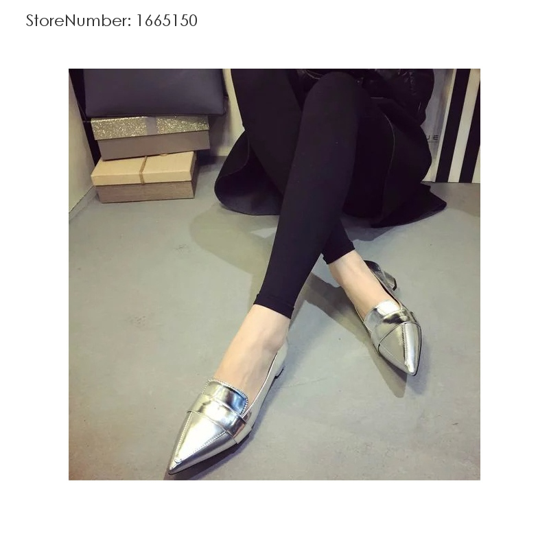 New Brands 2015 Girls Spring And Summer Fashion Style Loafers Solid PU Pointed Rubber Loafers 2 Colors Casual Loafers