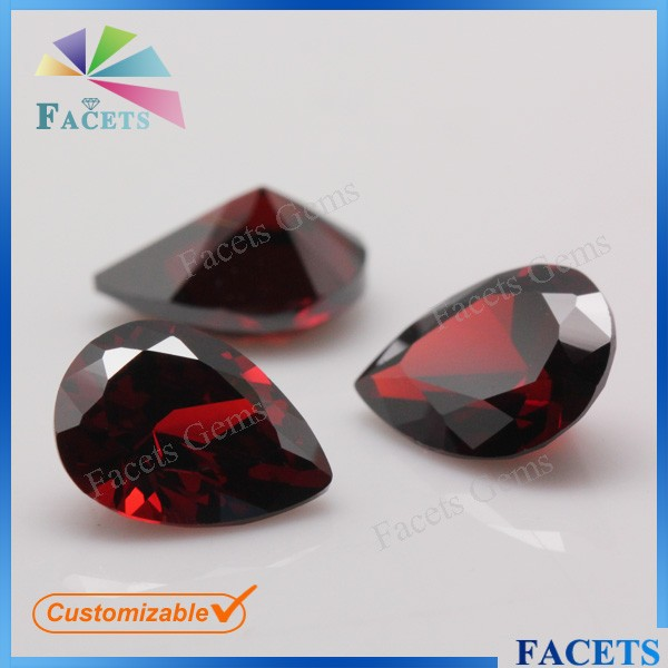 Facets Gems Wholesale Gemstone AAA Grade Machine Cut Cubic Zirconia Pear Shaped Garnet Gemstone
