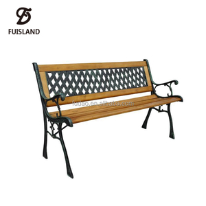 Hard Wood with Cast Iron Metal Frame Garden Bench
