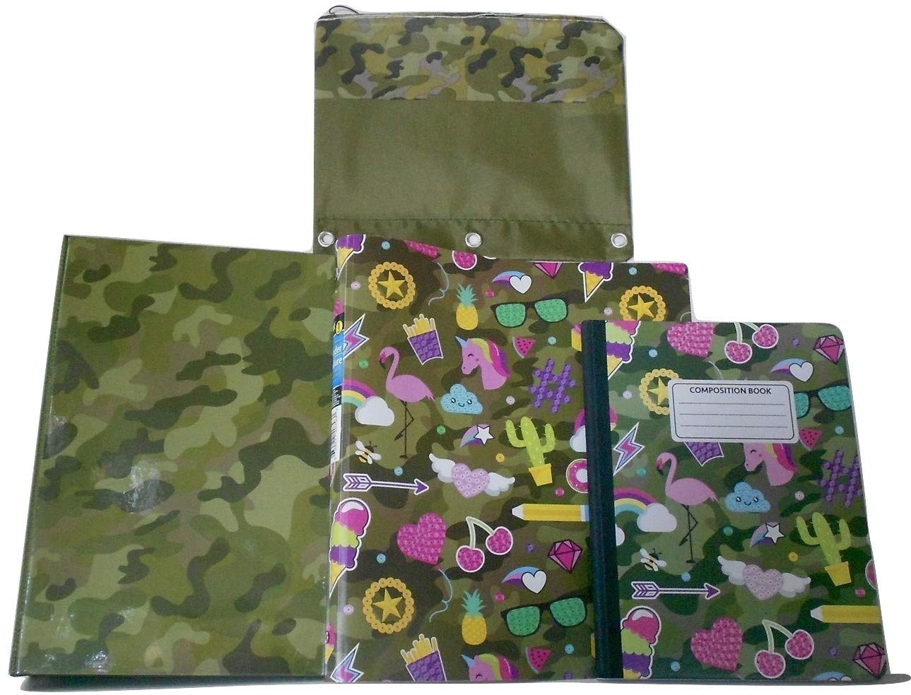 """Camouflage, Unicorns, Rainbows, Flamingos"" Two 1"" Ring Binders, Hardcover Composition Notebook & Camoflage Pattern 3-Ring Binder/Pencil Pouch Bundle - 4 Pieces"
