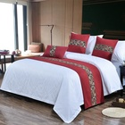 Hotel Bedding Decoration Neoclassical Big Red Cotton Bed Flag