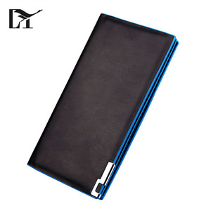 Long Style Wholesale Fine Black PU Leather Mens Slim Wallet For Men