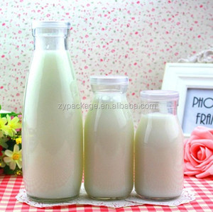 Wholesale 100ml Glass milk bottle 3oz with plastic lid Long type