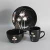 Russian dinnerware set , silk-screen tableware, mat black dinnerware
