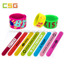 Cheap custom printed ruler silicone slap bracelet,rubber wristband band