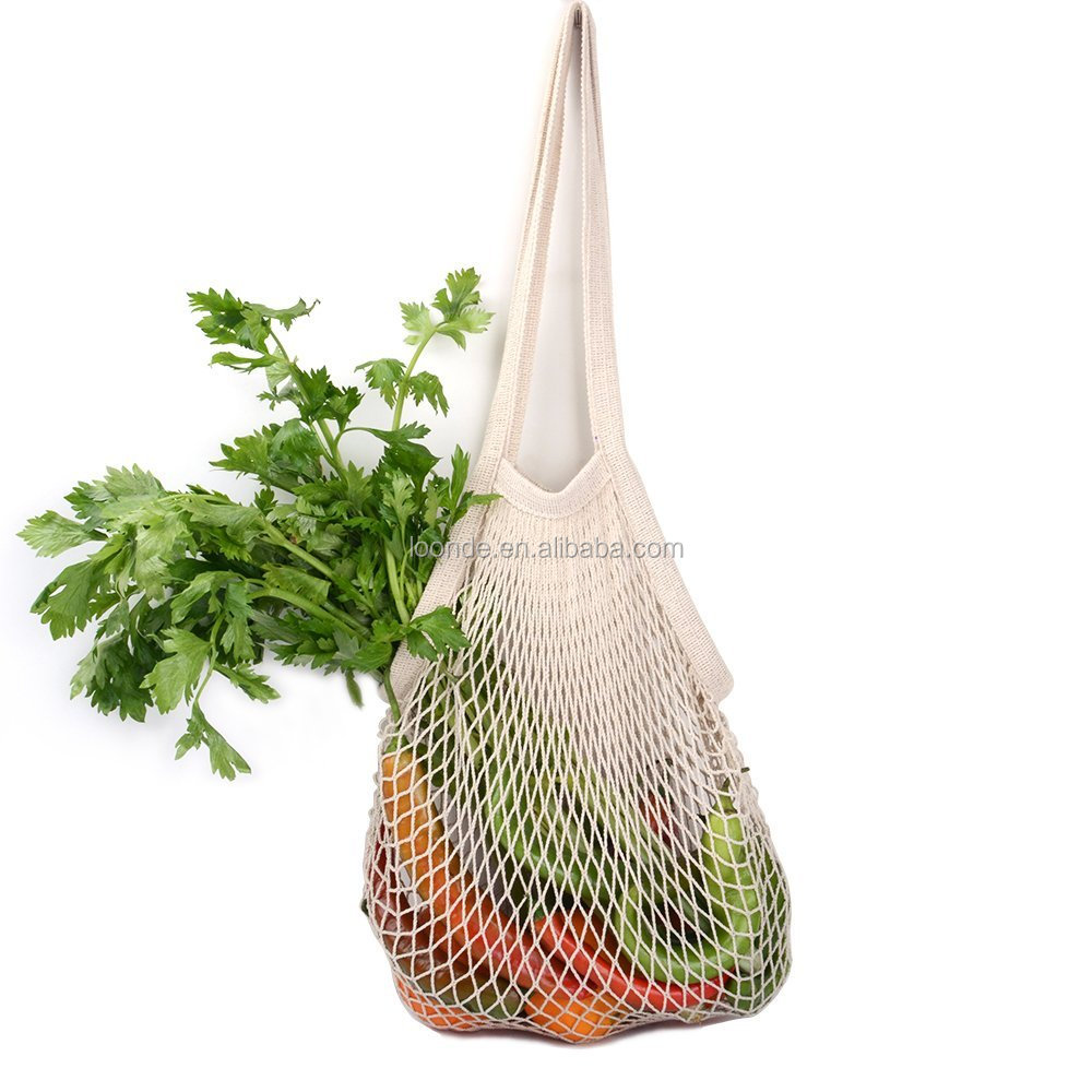 Ecology reusable organic cotton mesh grocery net shopping bag