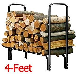 Yaheetech Heavy Duty Outdoor Log Rack Steel Firewood Storage Holder Black (4-Feet)