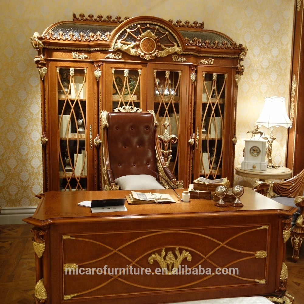 Baroque style luxury antique solid wood hand carved executive office furniture with office tables