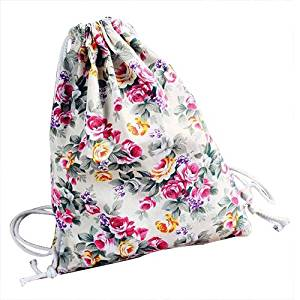 d6c5c64007 Get Quotations · Drawstring Backpack - TOOGOO(R)Womens Floral Canvas  Backpack Fashion School bags Drawstring Backpack