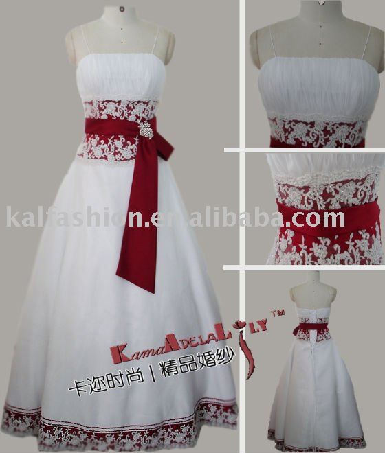 EB843A Red ribbon buckled diamond organza Classic Wedding dress spaghetti strap quinceanera dress