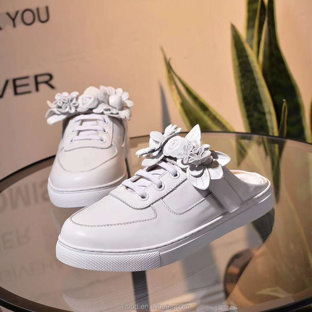 lady handmade leather leather flower genuine little white shoes with wholesale slippers UngWfEqqw