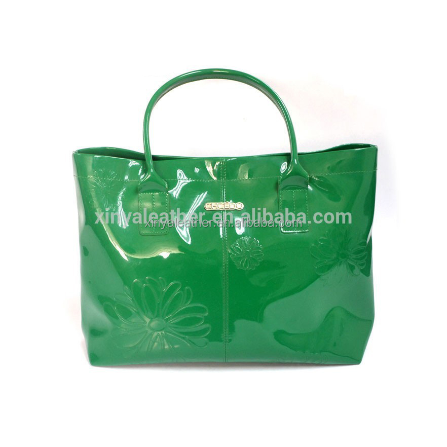 Latest brilliant green Shiny PVC leather ladies leisure handbag