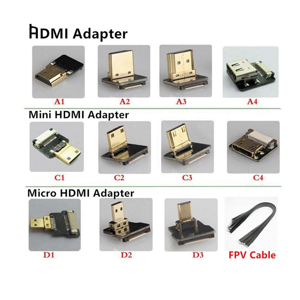FPV Micro HDMI Mini HDMI 90 degree Adapter 5cm-100cm FPC Ribbon Flat HDMI Cable Pitch 20pin for Multicopter Aerial Photography,A1 Adapter