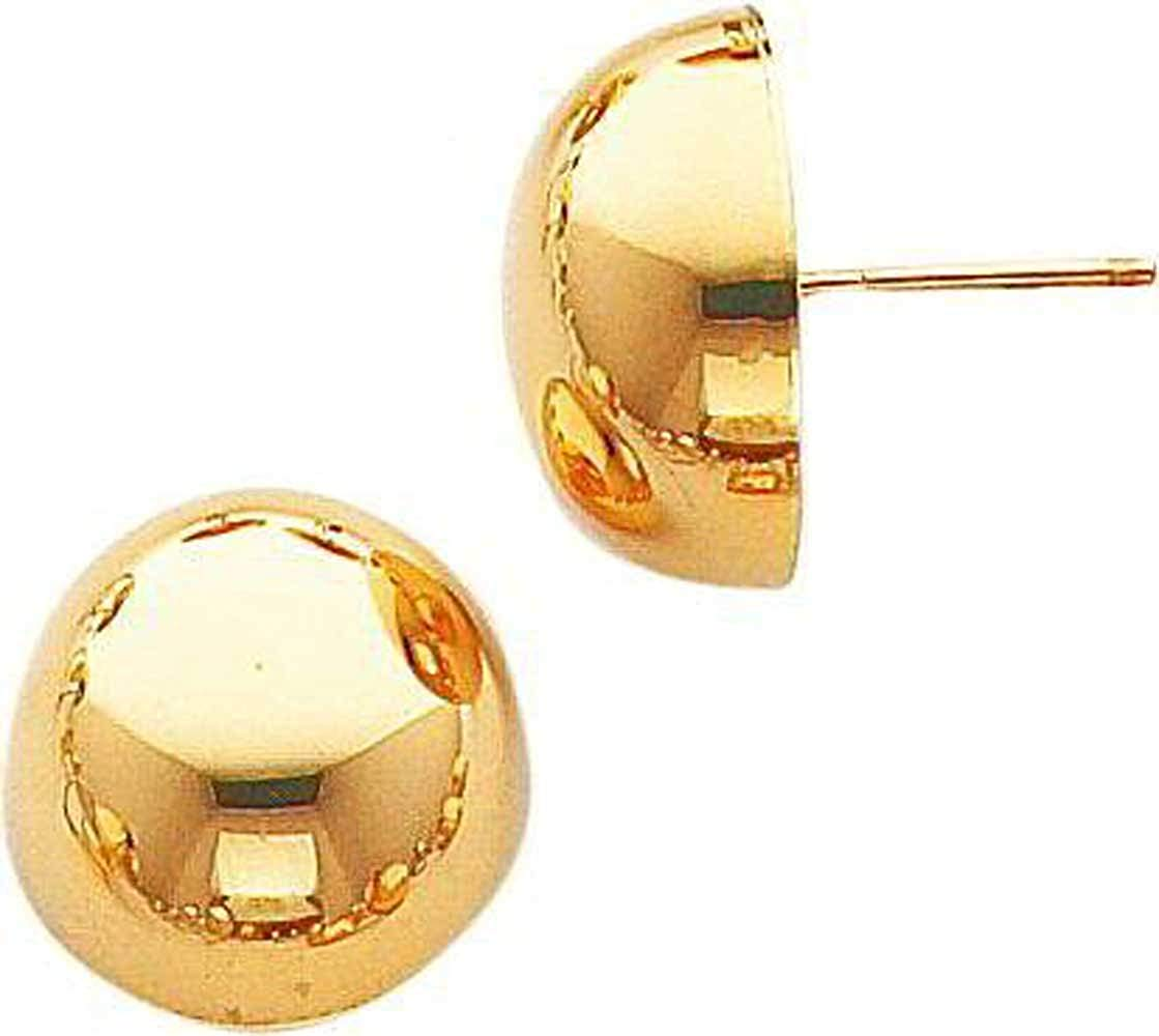 """8mm, 10mm, 12mm, 14mm,16mm- """"18K GOLD PLATED"""" over .925 Italian Sterling Silver HALF BALL MOON Stud Earrings (Push-Back Post)"""
