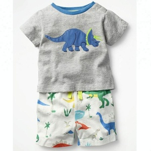 High quality cotton dragon embroidery summer spring boys clothing set