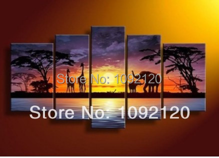 handpainted 5 piece abstract oil paintings on canvas wall art African scenery sunset pictures for living room home decoration