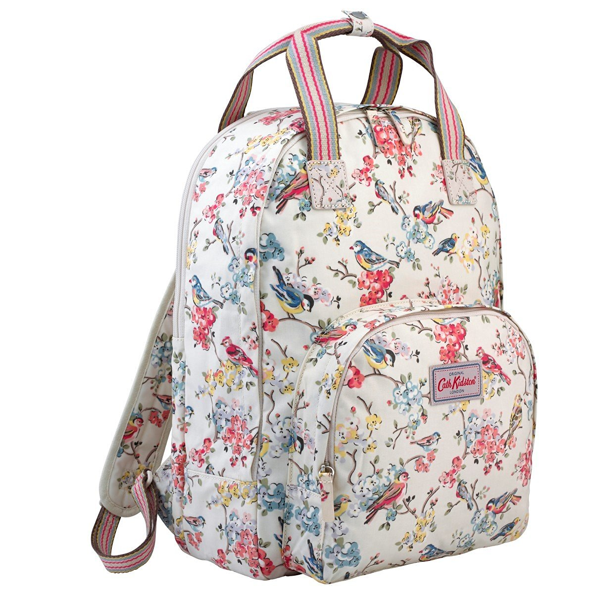 Cath Kidston Matt Oilcloth Multi Pocket Backpack Rucksack London Streets Colour Ivory
