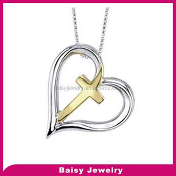 Custom engraved Inspired christian jewelry heart stainless steel cross  pendants gold for women dcbbac1a7c