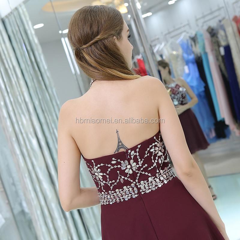 f6186da27c1 2017 high end dark red lady s prom dress short halter sexy backless beaded  brazilian evening dress