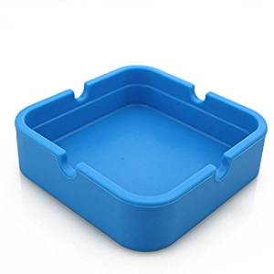 Hong Cheng Silicone Square Ashtray, Pack of 4,Colorfull Premium Silicone Rubber High Temperature Heat Resistant Square Design,Increase, Thickening, Hardness Higher of Ashtray (Blue)