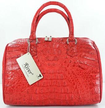 100 Hornback Skin Genuine Crocodile Leather Handbag Clutch Bag Purse Shiny Red River Brand New