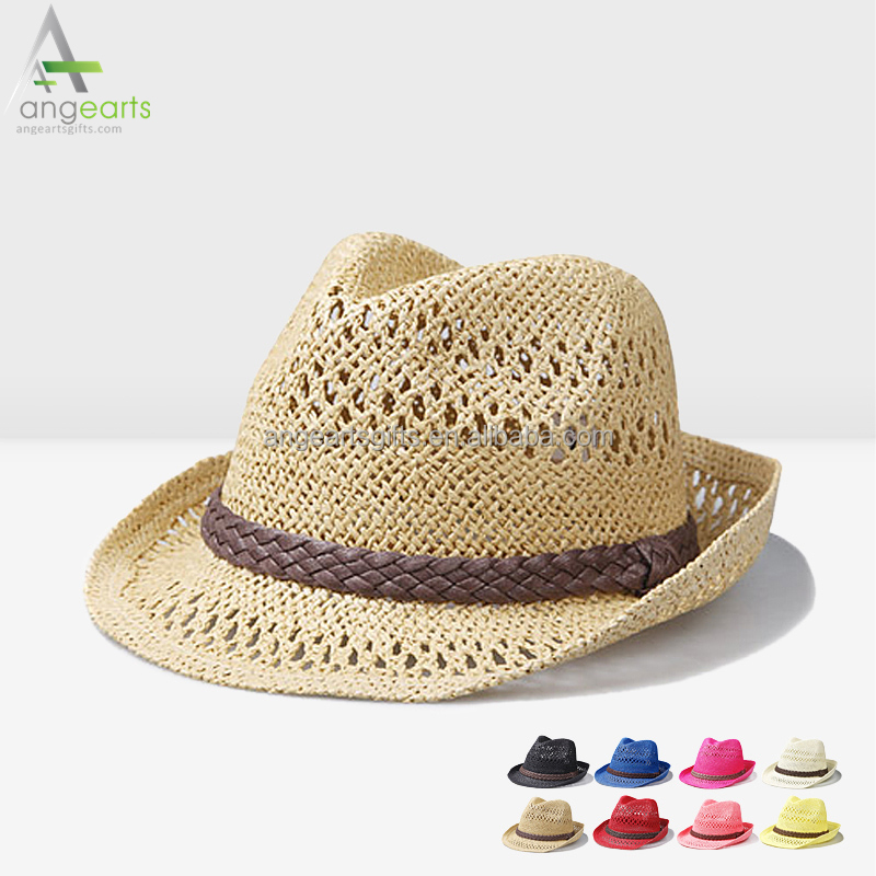 Fashion cheap wholesale women hats paper straw hats full color bucket hat