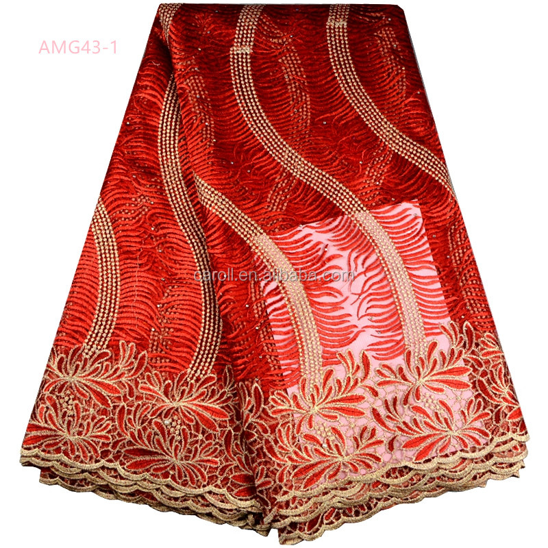 Latest New Arrival Red African Embroidered Textile Beaded Nigerian Lace Fabric For Wedding Dress