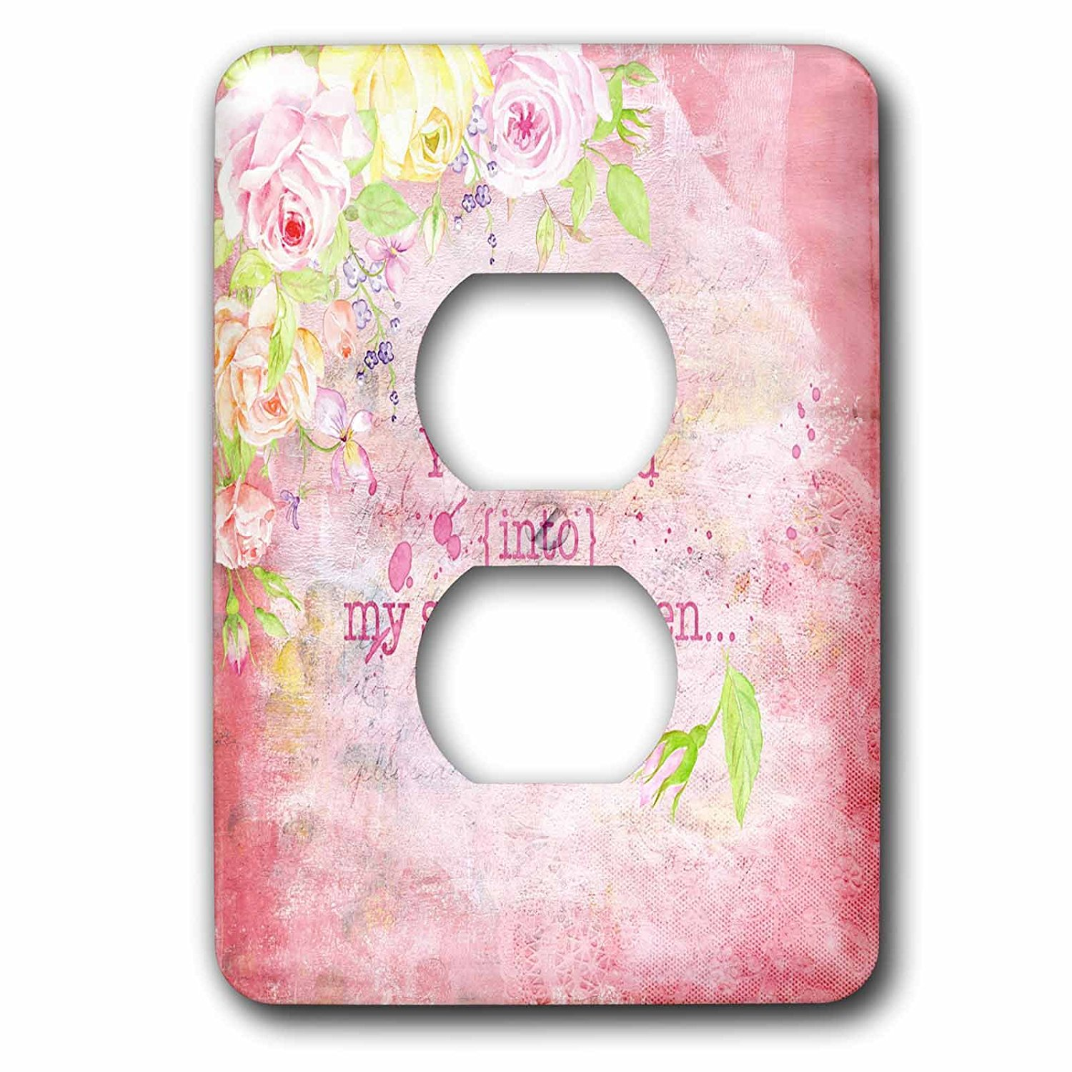 3dRose cst/_56631/_3 Shabby Chic Light Pink Roses Vintage Floral Pattern on White Ceramic Tile Coasters Set of 4