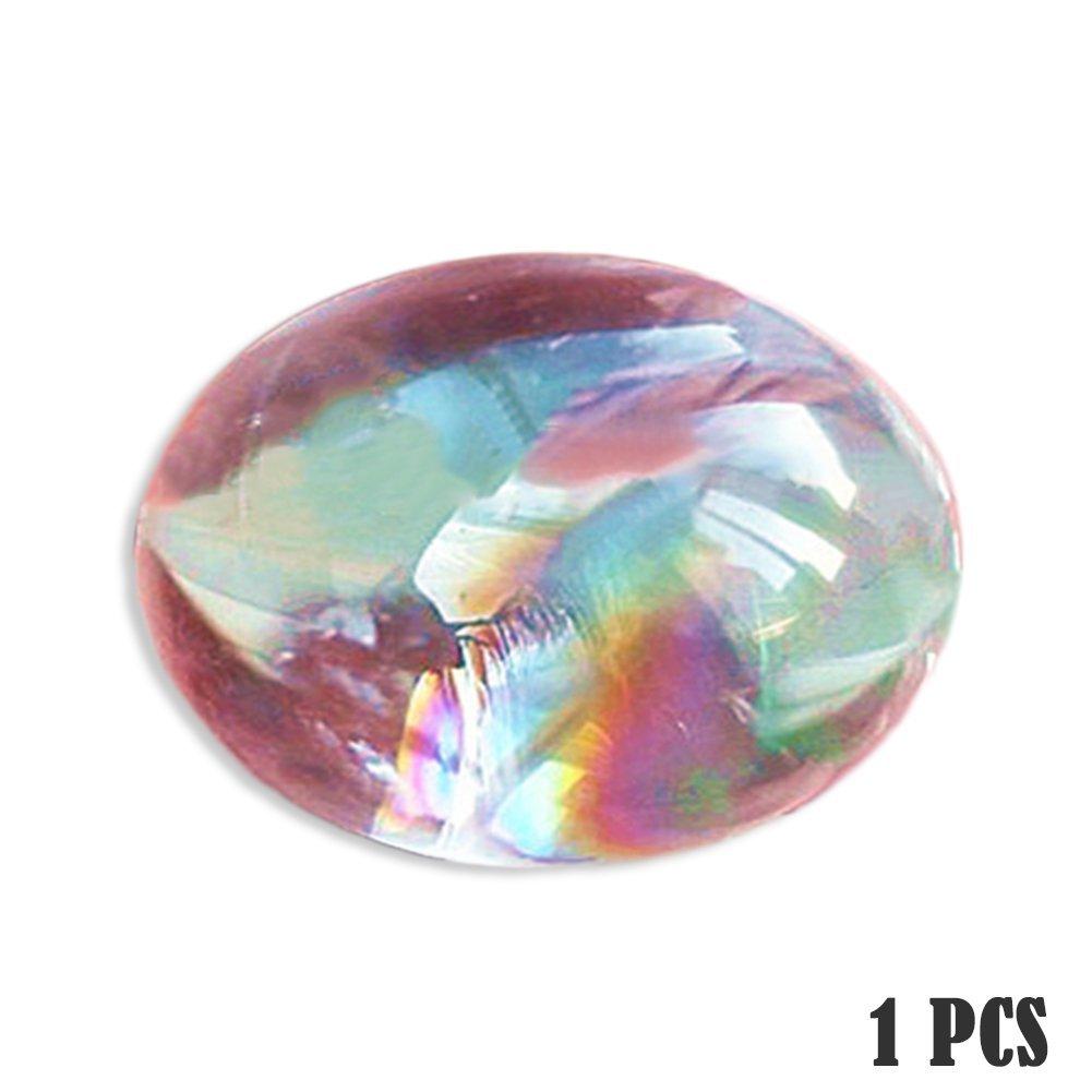 Samber Colorful Natural Fluorite Rock Crystal Stone Quartz Rainbow Ball Decoration Stone Crystal Lucky Ball Plant Flowerpot Decor/5 Pack