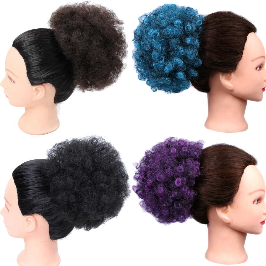 Hair Bun Afro Kinky Curly Drawstring short Hair Pieces Bun clip