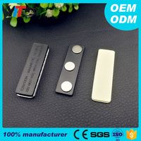 45*13MM Magnet Name Tag Badge Pin 3-Pole Magnetic with 3M Adhesive LOT High Quality For Sale