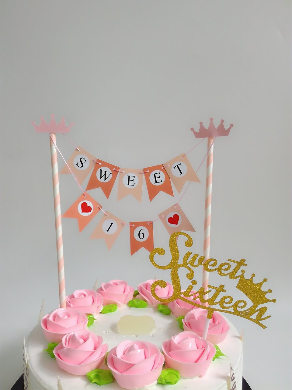 Get Quotations Sweet 16 Birthday Banner Bunting Style Anniversary Decoration Sixteen Decorations Party Favors
