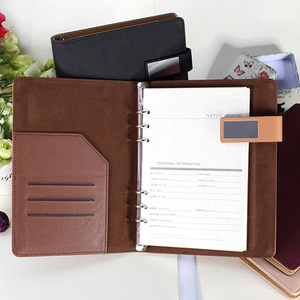 2018 Leather Business Office Stationery 6 ring binder customized leather diary book