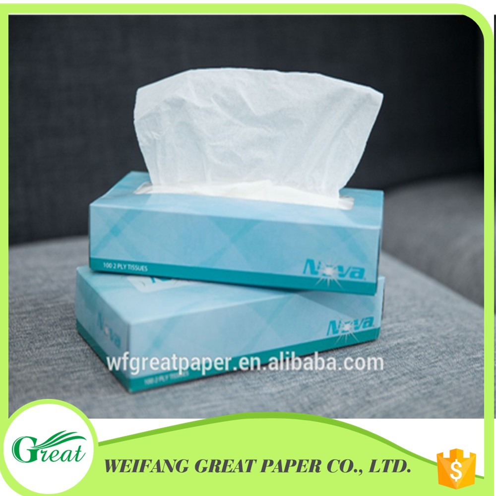 White soft 2 ply box facial tissue paper with sweet color box