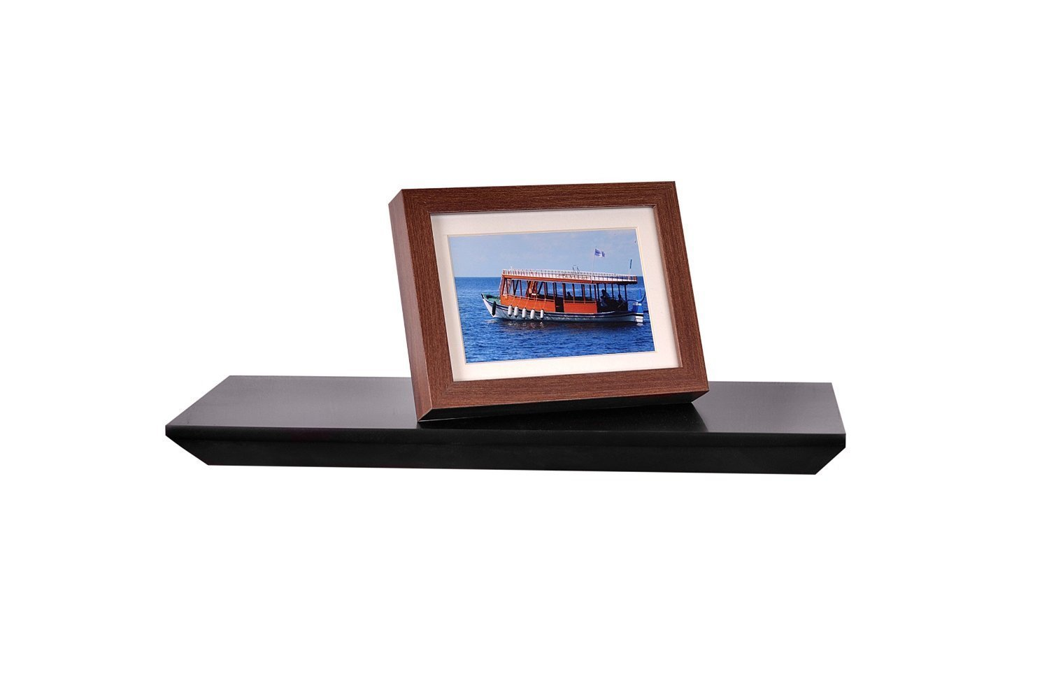 "WELLAND Painted Shelf, Floating Wall Shelf Ledge Shelf, 24"" x 8"" x 1.25"", Black"