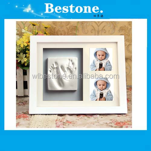 Hot New baby boy gift handprint footprint imprints mould kit white box display photo frame