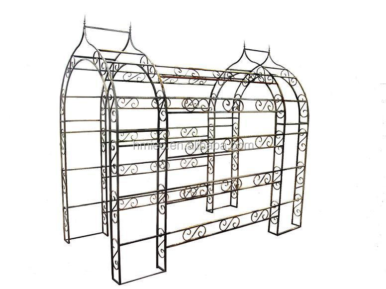 Wrought Iron Garden Arch With Two Seats, Metal Garden Gazebo