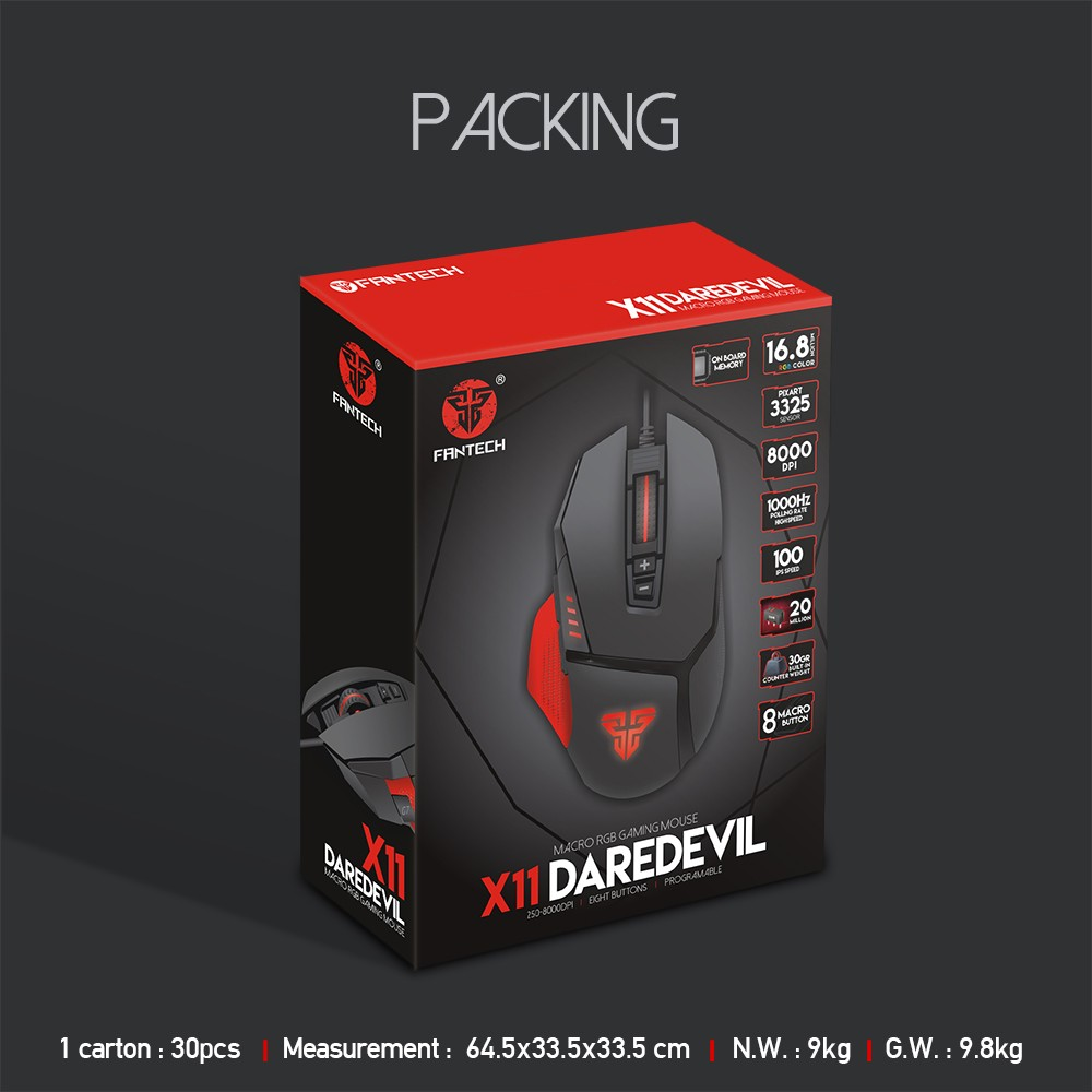 Best Selling FANTECH Gaming mouse X11 programmable with SENSOR PIXART 3325,  View Gaming mouse SENSOR PIXART 3325, FANTECH Product Details from