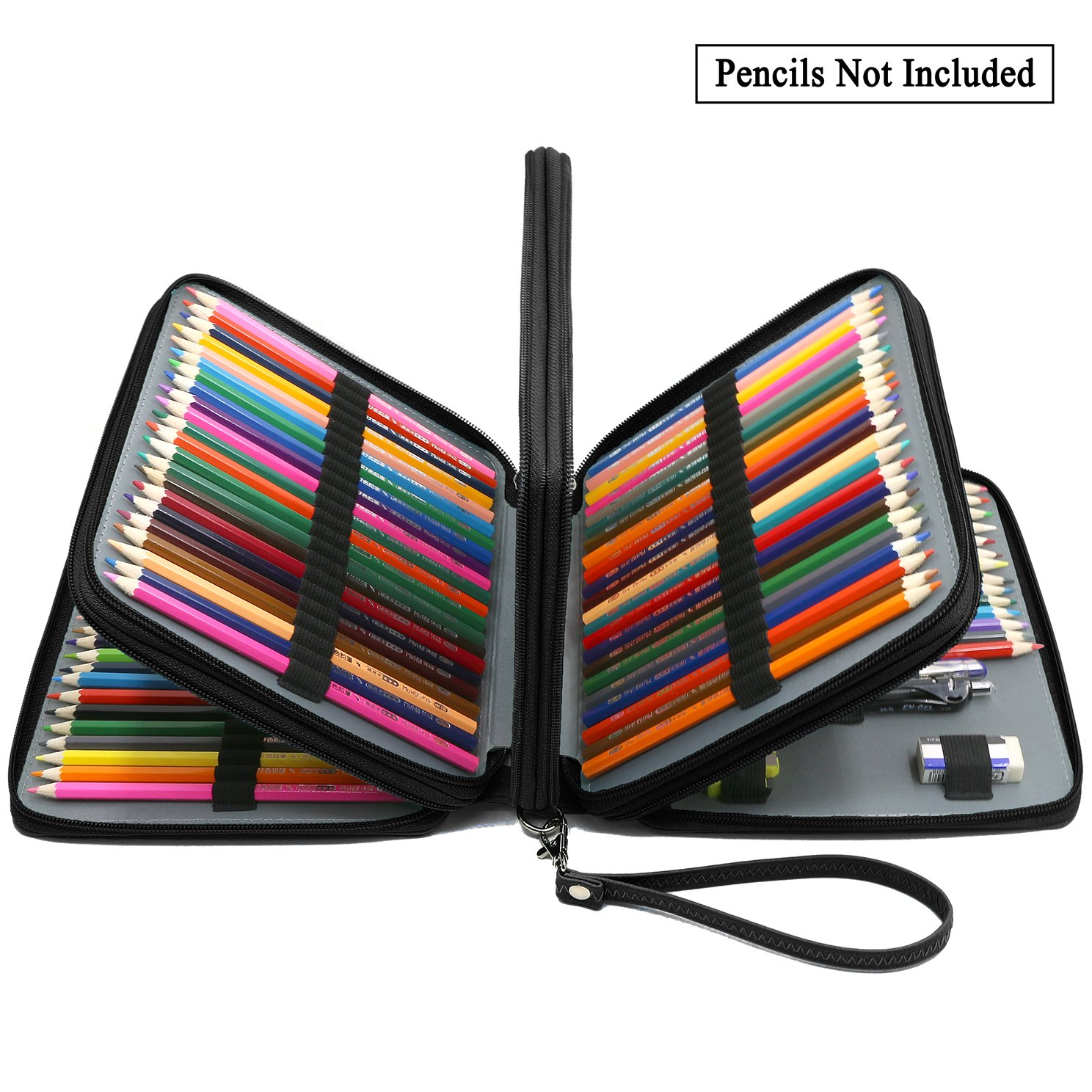 ADVcer 160 Slots Pencil Case - PU Leather Large Capacity Zipper Pen Bag with Hand Strap for Prismacolor Crayola Colored Pencil, Watercolor Pencils, Marco Pens, Gel Pen, Makeup Brush, Sharpener (Black)