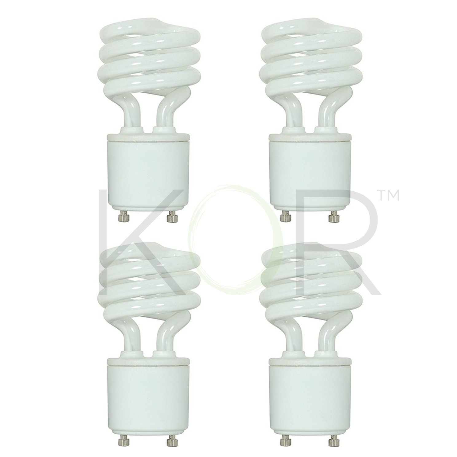 (4 Pack) 13 Watt Mini Spiral - GU24 Base - (60W Equivalent) - T2 Mini-Twist - CFL Light Bulb - 2700K Warm White