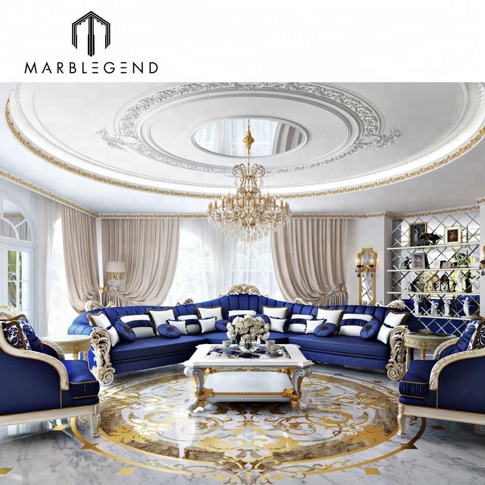 custom luxury brass inlay marble waterjet medallion floor pattern design