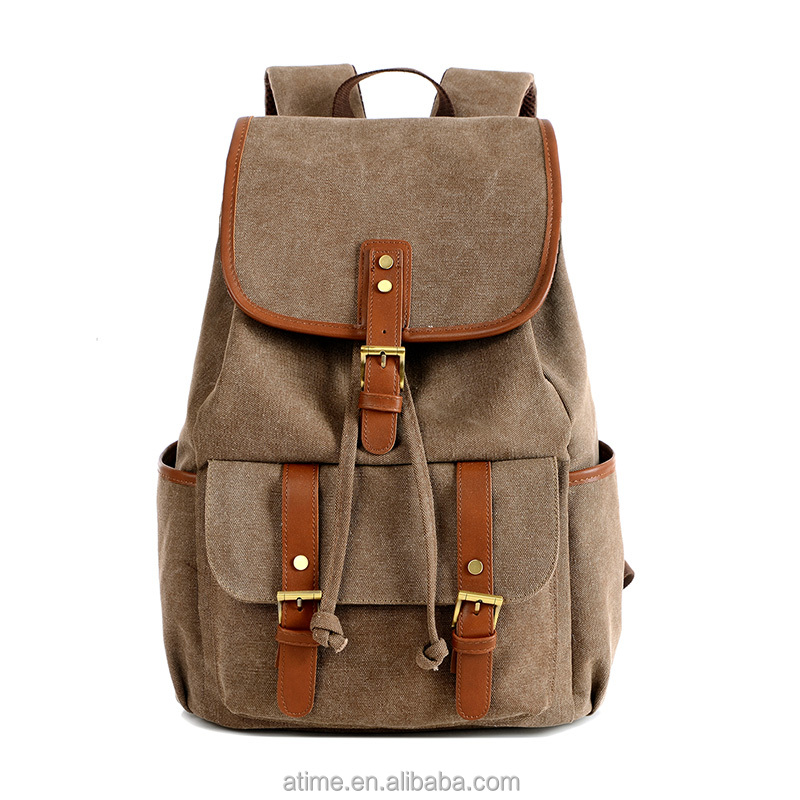 Hebei popular casual canvas oem backpack brands backpack without zipper