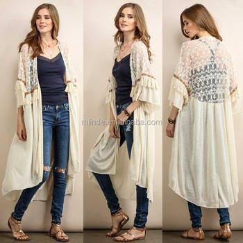 866b876544 Women s Long Sleeve Waterfall Asymmetric Drape Open Long Maxi Cardigan Lace    Fringe Trim Open Front