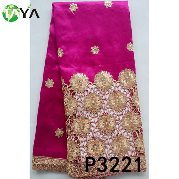 fushia design embroidery silk george lace fabric newest wedding indian george lace